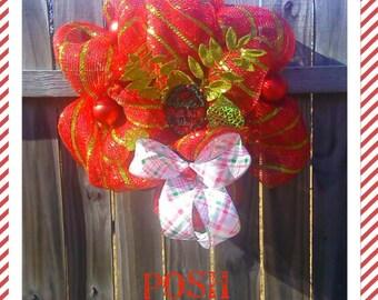 Jingle All The Way Poly Deco Mesh Wreath