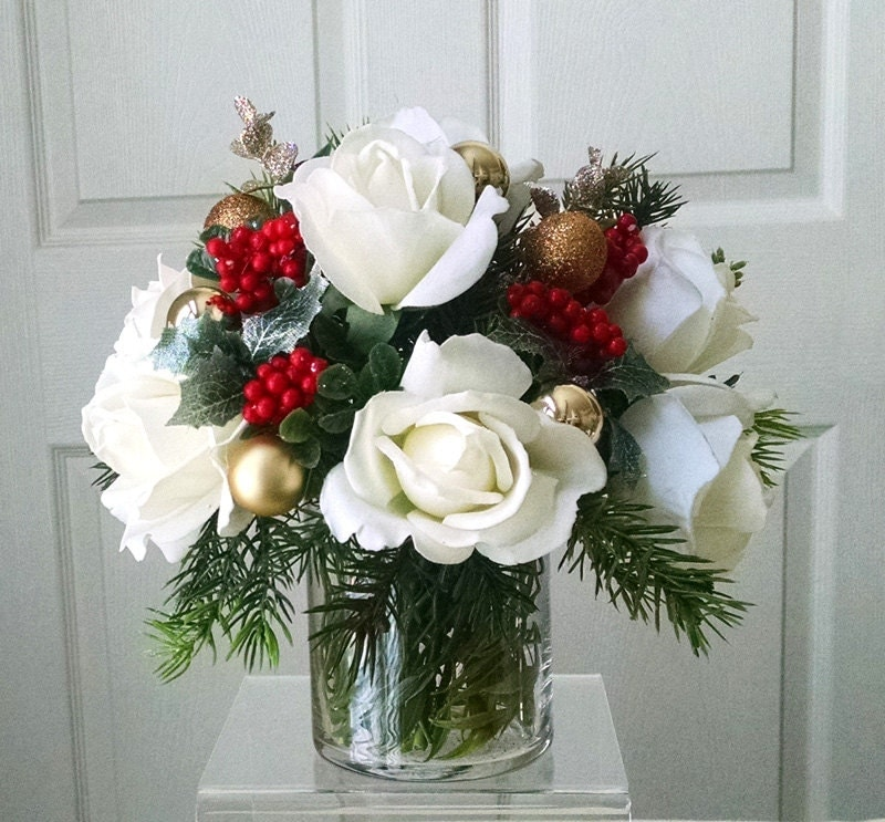 ChristmasTable Centerpiece-Real Touch Roses-Christmas Flower Arrangement-Christmas Floral-Red Roses-Silk faux arrangement