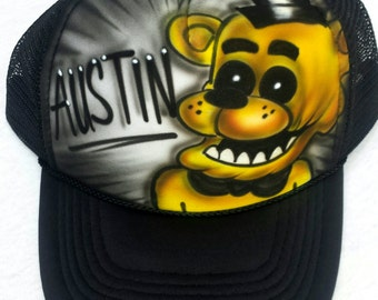 Airbrushed Five Nights At Freddy's Golden Freddy Inspired Hat Trucker Snapback Personalized