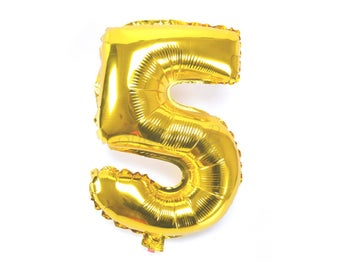 "40cm Number 5 Gold Foil Balloon / Five / 16"" Gold Mylar Balloon / 5th Birthday Party Decor / 5th Anniversary / Gold Party Decor / Photo Prop"