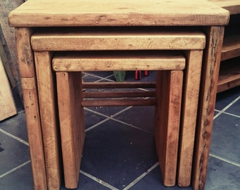 Solid Reclaimed Wood Nest of 3 Tables