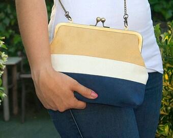 Clutch bag-Vegan suede bag-Metal frame purse with shoulder strap-leather-Suede-bag Vegan vegan-bag hand-Blue-Vintage-Shoulder bag