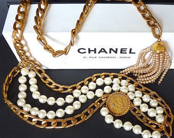 Rare CHANEL Pearl Necklace with CHANEL Box, Coco Chanel Paris, Vintage Chanel Necklace Belt with Gold Metal Chain and CC Logo, Gift for Her