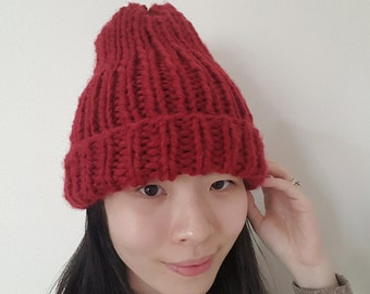 Chunky Knit Ribbed Hat - Burgundy Knit Beanie - Chunky Hat