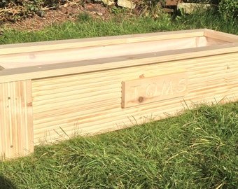 Wooden decking natural herb garden planter window box trough with free liner