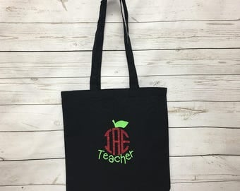 Personalized Teacher Tote Bag, Monogrammed Teacher Tote Bag, Gifts for her, Monogrammed Tote Bags, Monogrammed Bags, Custom Tote Bags, Gifts