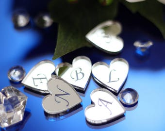 Personalised 2cm Mr & Mrs Love Heart Acrylic Wedding Favours Table Confetti Center Piece Decorations, Centrepiece