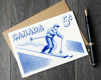 ski birthday cards, skiing gift ideas, skier gift card, canada winter card, canada christmas card, canada birthday, ski party, skier posters