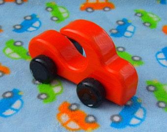 Wooden Car, Orange, Push Toy Free Wheeling
