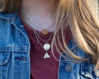 Gold Circle Triangle Hand Stamped Necklace