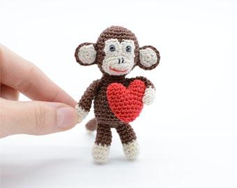 Birthday monkey, Valentines Monkey, little keychain, Monkey with red heart, beloved toy, amigurumi gift