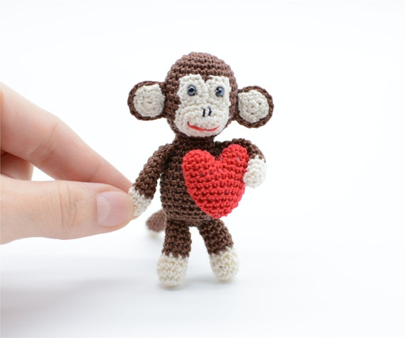 Amigurumi Monkey Keychain : Amigurumi Monkey with red heart Valentines gift kawaii