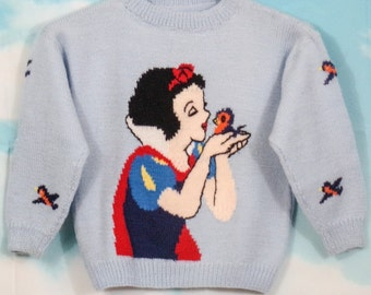 Pull kid blue sky K4U-Creations White Snow knitted hand