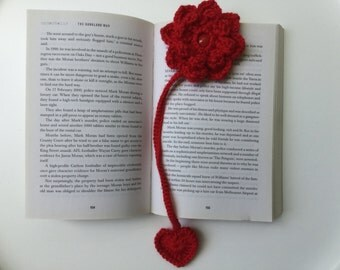 Bookmark, flower bookmark, heart bookmark, Valentine's Day gift, Mother's Day gift, Birthday gift,crochet handmade bookmark,