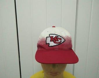 Rare Vintage KANSAS CITY CHIEFS Big Logo Two Colour Cap Hat Free size fit all
