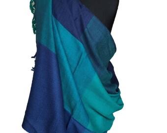 Turquoise and Blue zig zag blocks wool shawl