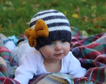 Mustard Bow Hat, Baby Girl Knit Beanie, Toddler Hat, Girl Hat with Bow, Wildly Blessed Knit Hat, Girl Going Home Outfit, Child Winter Hat