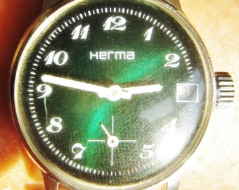 Vintage Ladies French SS Herma Bracelet Date + Sub Dial Watch FE 233-72E Mov't