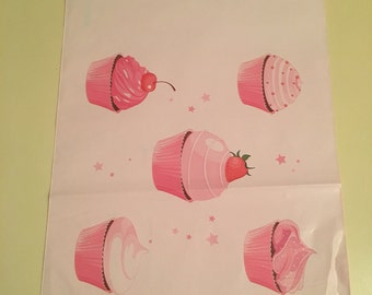 """100 Lularoe Consultant Pink Cupcake  Poly Mailers . 10"""" x 13 Flat Poly Mailers, Adhesive Flat Envolpes."""