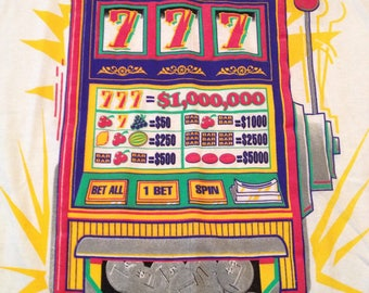 Vintage 90s Casino Jackpot slot machine 777 gambling vegas big logo T-shirt size XL