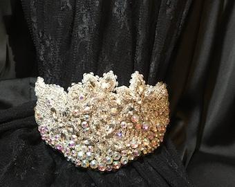 Silver Rhinestone Wedding Tiara, Royal Bridal Crown,
