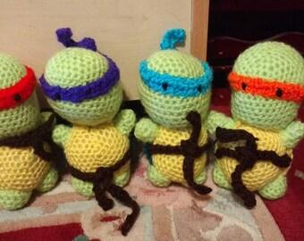 Crocheted amigurumi ninja turtles