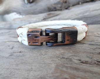EXPRESS SHIPPING,Men's Braided Leather Bracelet,White Leather Bracelet,Antique Clasp Bracelet,Men's Jewelry,Cuff Bracelet,Father's Day Gifts