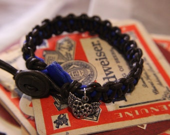 Leather Macrame Bracelet with Deep Blue Velveteen Ribbon and Winged Heart Charm
