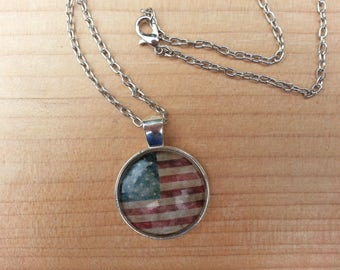 Patriotic American Flag Necklace. US Flag Pendant. Independence Day Jewelry. 4th of July Necklace. Red White Blue American Flag. Gift Idea