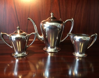Elegant Art Nouveau Poole Silver Co. Quadruple Plate Tea Set