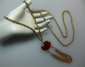 Vintage Gold Tone Faux Tortoise Pendant with Chain Swags on 36 Inch Chain Necklace