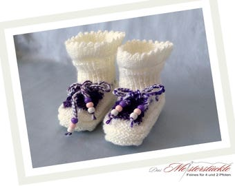 Purple first shoes baby shoes baby socks White hand knitted