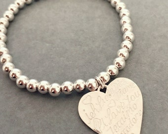 Sterling Silver Large 'I love you' in Different Languages Heart Charm Bracelet