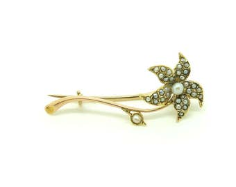 Antique Gold Brooch | Brooch Pin | Victorian Brooch | Seed Pearl Brooch | 9ct Gold Pin Brooch | Flower Brooch | Gold Flower Pin | Estate Pin