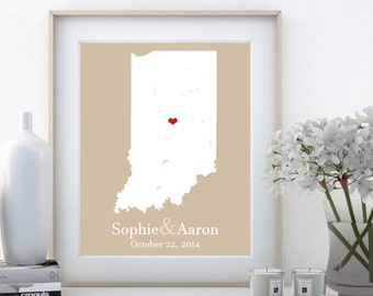 Gifts for Engaged Couples, Engaged Couple Gift, Indiana Map Art, Couple Gift for Boyfriend, Couple Gift for Girlfriend, Couple Gift Ideas