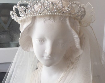 Vtg CRYSTAL BEADED CROWN/ Two Teir Veil/White Veil with Pearl Edging