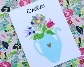 Flowers in a Teapot PERSONALIZED Notecards, Set of 10 Notecards & Envelopes
