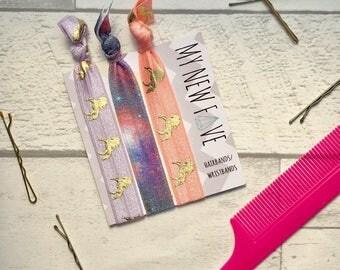 Unicorn Hair ties, unicorn hair elastics, unicorn Birthday fun hairbands, festival wristbands, Unicorn, hair bands, galaxy print