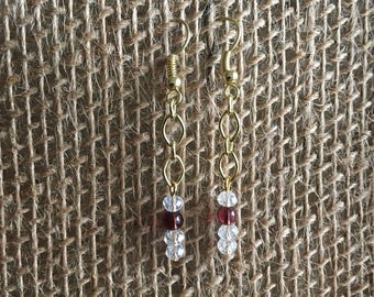 Gold chain earrings with faceted glass beads