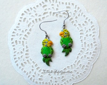 Parrot funny earrings budgies handmade from polymer clay.