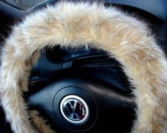 Fuzzy Steering Wheel Cover, Beige Fuzzy Wheel Cover, Car accesories, Beige And Brown Fuzzy Wheel Cover, Faux Fur Steering Wheel Cover