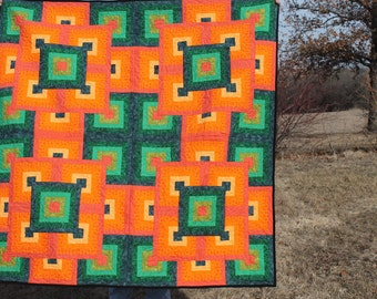 Bright colors/quilt/illusion/throw/blanket/fleece/orange and green/free motion quilting