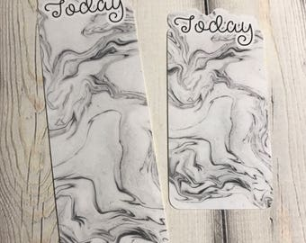 Today Bookmark-Black & White Marble