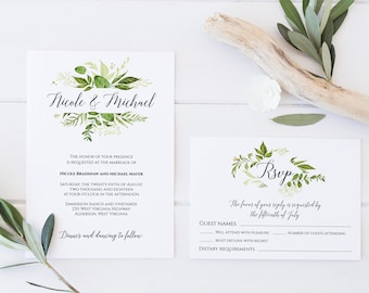 Greenery Wedding Invitation Template, Greenery Invitation, Invitation Suite Template, Spring Wedding Invitation, Invitation Set Template