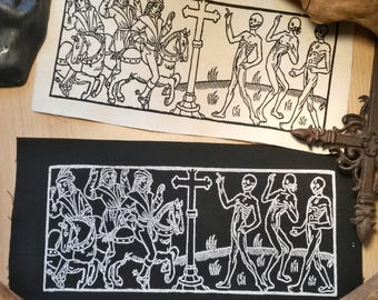 The dance of death, patches for historical woodcut. Memento Mori.