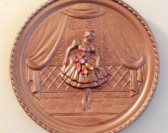 Ballet dancer rose gold plaque, ballerina art, Nutcracker gift, ballerina wall art, dance decor, dance recital gift, vintage jewelry collage
