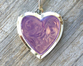 Purple hand painted heart locket