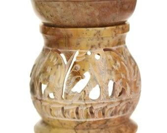 "Oil Diffuser - Natural Soapstone Oil Burner Round Elephant 4"""
