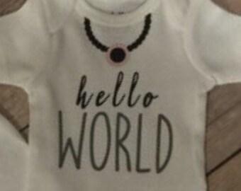 Hello world necklace onesie