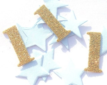 Number 1 & Star Blue and Gold Glitter Table Confetti, boys first birthday